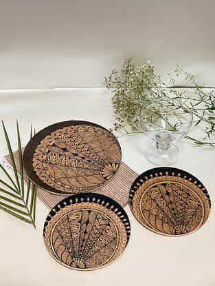 Brown Reverse Crescent Hot Plate (Set Of 3)