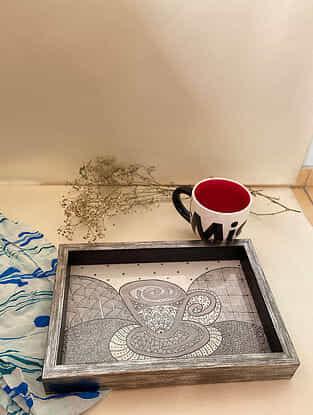 Silver Tea Flux Wooden Tray (L- 9in, W- 13in)