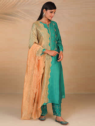 Orange Zari Trimmed Chanderi Tissue Dupatta with Scallop Details