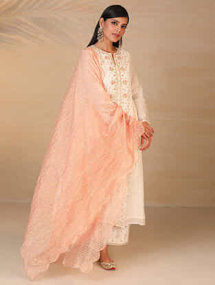 Peach Zari Trimmed Chanderi Tissue Dupatta with Scallop Details