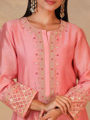 Pink Hand Embroidered Silk Chanderi Kurta