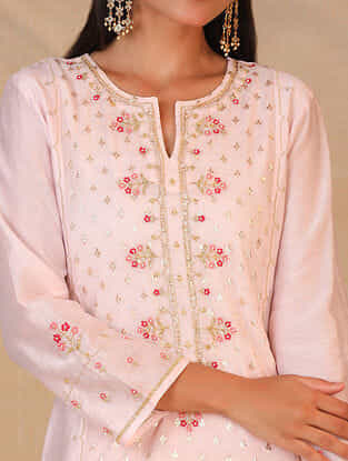 Light Pink Hand Embroidered Silk Chanderi Kurta