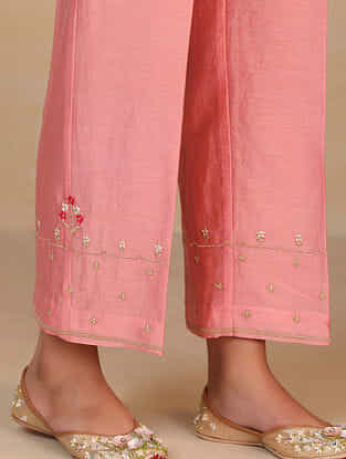Pink Embroidered Silk Chanderi Palazzos