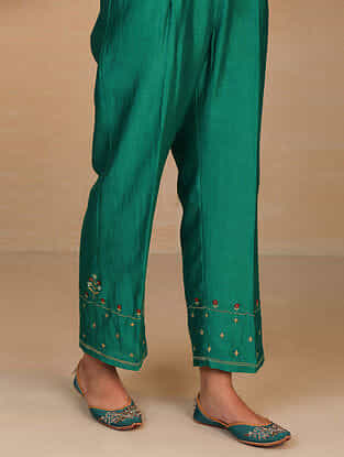 Green Embroidered Silk Chanderi Palazzos