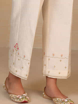 Ivory Embroidered Silk Chanderi Palazzos