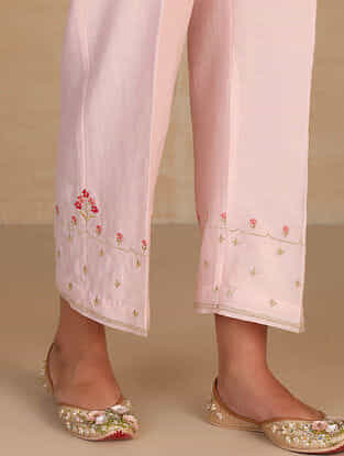 Light Pink Embroidered Silk Chanderi Palazzos