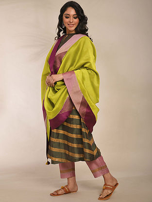 Lime Green Hand Block Printed Chanderi Dupatta with Embroidery