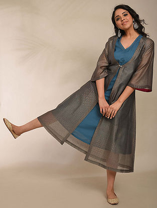 Grey Hand Block Printed Chanderi Dress with Cape (Set of 2)
