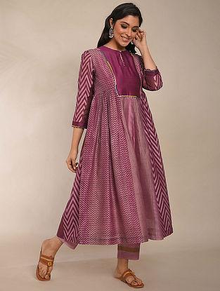 Pink Purple Hand Block Printed Chanderi Kurta with Cotton Lining