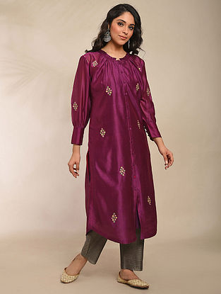 Purple Embroidered Chanderi Kurta with Cotton Lining