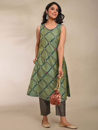 Green Hand Block Printed Chanderi Kurta with Embroidery and Cotton Lining