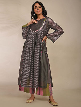 Grey Hand Block Printed Chanderi Kurta with Embroidery and Cotton Lining