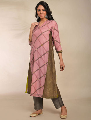Pink Hand Block Printed Chanderi Kurta with Embroidery and Cotton Lining