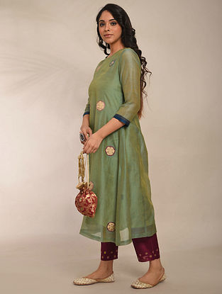 Green Embroidered Chanderi Kurta with Cotton Lining