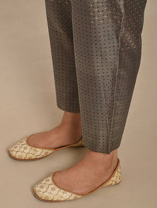 Grey Hand Block Printed Chanderi Pants with Cotton Lining