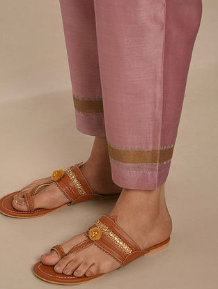 Pink Hand Block Printed Chanderi Pants with Cotton Lining
