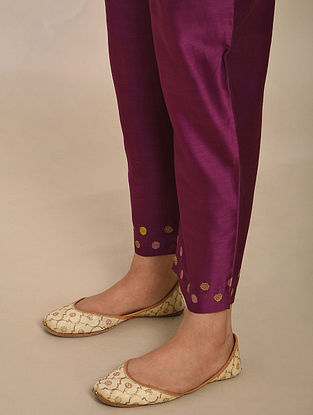 Purple Embroidered Chanderi Pants with Cotton Lining