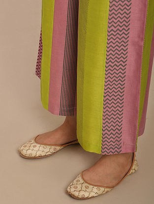 Pink Lime Green Hand Block Printed Chanderi Pants with Patchwork and Cotton Lining