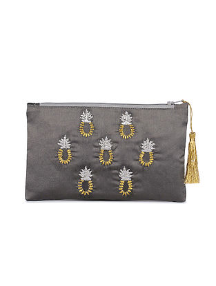 Silver Hand Embroidered Satin Pouch