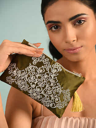 Olive Green Hand Embroidered Satin Pouch