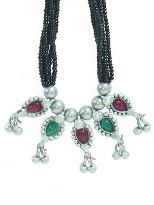 Red Green Sterling Silver Necklace