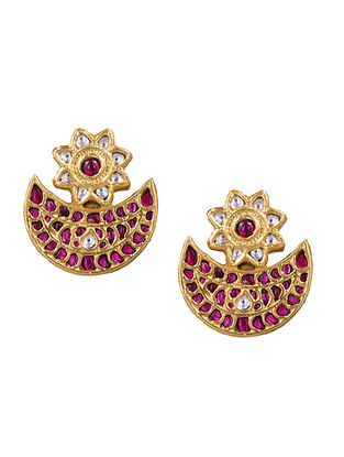 Red Gold Plated Silver Earrings