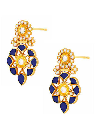 Blue Gold Plated Silver Earrings