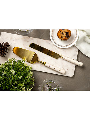 Gold and White Fia Cake Serving (Set Of 2)