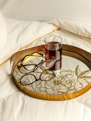 Gold Camellia Mirror Tray (L-11.5in W-11.5in H-1in)