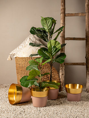 Pink and Gold Color Block Planter (L-9in W-9in H-7.75in)