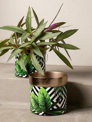 Multicolour Tropical Chevron Planter (L-4.5in W-4.5in H-4.5in)