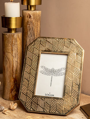 Gold and Natural Wood Mehrab Photo Frame (L-7.5in W-9.75in H-0.75in)
