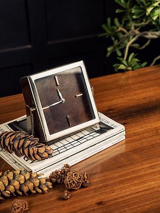Silver Nova Table Clock (L-6.25in W-6.25in H-2in)