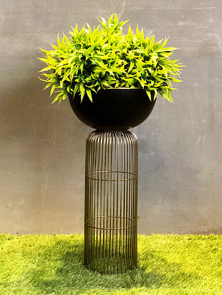 Black and Gold Strata Wired Planter (L-10in W-10in H-21in)