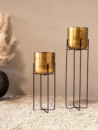 Gold Celeste Planter (L-7.87in W-7.87in H-31.49in)
