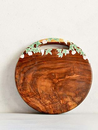 Handcrafted Sheesham Wood Sylvan Round Cut & Serve Board (Dia - 9.84in, H - 0.98in)