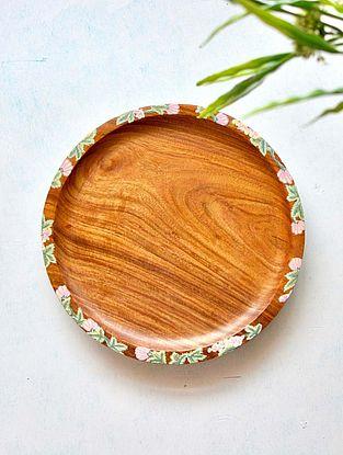 Handcrafted Sheesham Wood Sylvan Salad Plate (Dia - 9.84in, H - 0.98in)