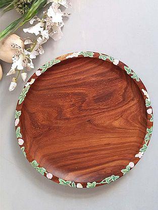 Handcrafted Sheesham Wood Sylvan Platter (Dia - 11.81in, H - 0.98in)