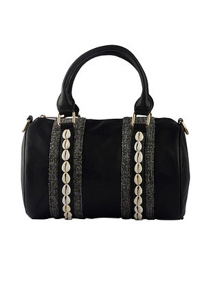 Black Handcrafted Faux Leather Hand Bag