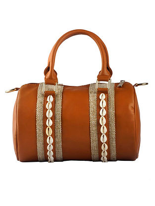 Brown Handcrafted Faux Leather Hand Bag