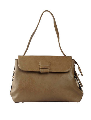 Beige Handcrafted Faux Leather Tote Bag