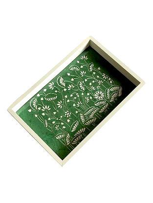 Green White MDF Tray (L-15in, W-10in, H-1.5in)