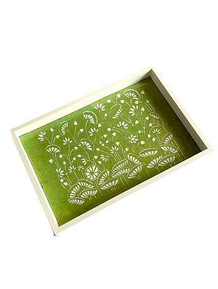 Green White MDF Tray (L-12in, W-8in, H-1.5in)