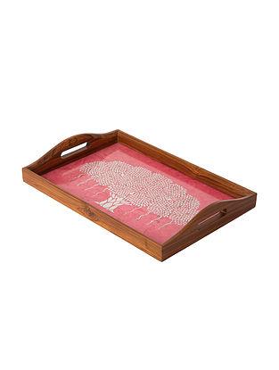 Pink Teakwood Tray (L-15in, W-10in, H-1.5in)