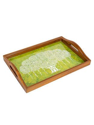 Green Teakwood Tray (L-15in, W-10in, H-1.5in)