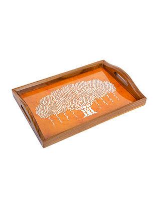 Orange Teakwood Tray (L-15in, W-10in, H-1.5in)