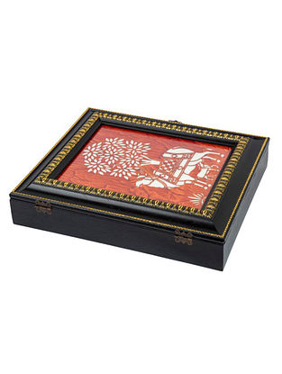 Red Fibrewood Handcrafted Box (L-12in, W-10in, H-2.5in)