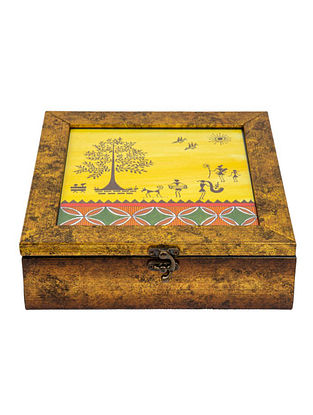 Multicolored Fibrewood Handcrafted Box  (L-9in, W-9in, H-2.75in)