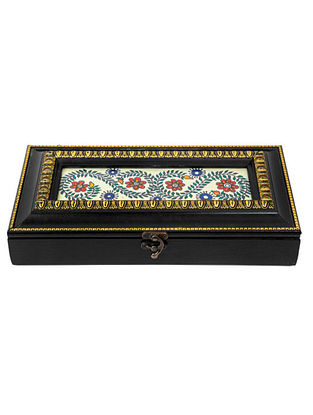 Multicolored Fibrewood Handcrafted Box  (L-12in, W-6in, H-2.25in)