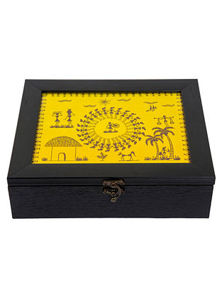 Yellow Black Fibrewood Handcrafted Box  (L-10in, W-8in, H-3in)